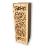 Coffret caisse de vin bois découpé Porte Cailhau Bordeaux andrea ho posani ecrin du vin